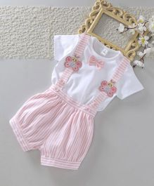 ToffyHouse Half Sleeves Tee & Striped Shorts With Suspender - Pink