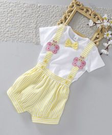 ToffyHouse Half Sleeves Tee & Striped Shorts With Suspender - Lemon