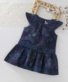 ToffyHouse Cap Sleeves Abstract Print Denim Frock - Dark Blue