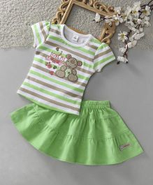 ToffyHouse Short Sleeves Striped Top & Corduroy Skirt - Green
