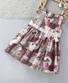 ToffyHouse Sleeveless Printed Regular Neck Frock - Pink & Multi Color