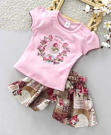 ToffyHouse Short Sleeves Rose Print Top & Divided Skirt Set - Pink