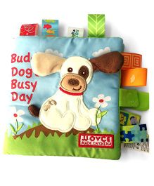 2 Footya Buddy Dog's Busy Day Cloth Story Book - White Multi Colour