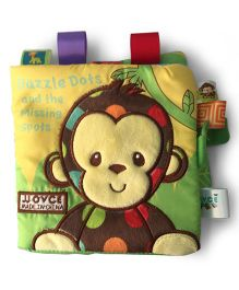 2 Footya Dazzle Dots & Missing Spots Cloth Story Book - Brown Multi Colour