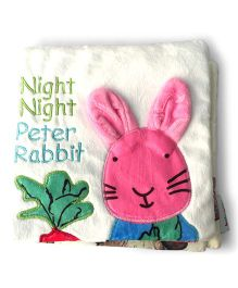 2 Footya Night Night Peter Rabbit Cloth Story Book - White Pink