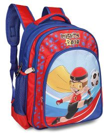 Mighty Raju School Bag Football Theme Blue Red - 14 inches