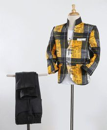 Rikidoos Checkered Design Jacket With T-Shirt & Pants - Mustard & Black
