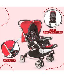 Mee Mee Premium Baby Pram With Rocker Function Rotating Wheels & Adjustable Seat - Red Black