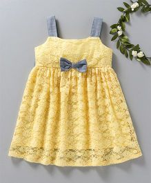 Babyoye Singlet Net Frock With Bow Applique - Yellow