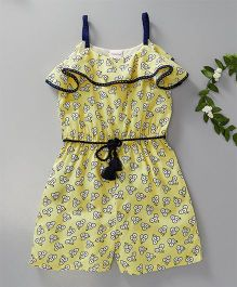 Babyoye Singlet Jumpsuit Floral Print - Light Yellow