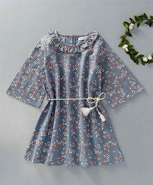 Babyoye Full Sleeves Ruffled Neck Frock Floral Print - Blue