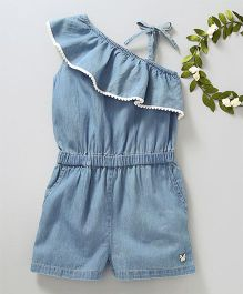 Babyoye Singlet Solid Colour Denim Jumpsuit - Blue