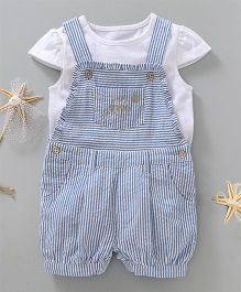 Babyoye Cap Sleeves Top & Dungaree Style Romper Stripes Print - Blue & White