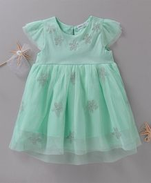 Babyoye Cap Sleeves Star Embroidered Frock - Sea Green