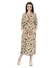 MomToBe Women's Rayon Maternity Dress - Tawny Brown