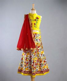 Kuddle Kids Choli With Floral Work & Red Dupatta - Yellow & Red