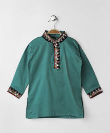 Kuddle Kids Embroidered Kurta With Mirror Work - Sea Green