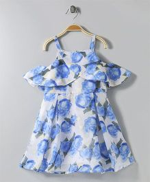 FairiesForever Floral Print Dress - Blue & White