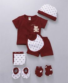 Cucumber Clothing Gift Set of 8 Anchor Print - Maroon White