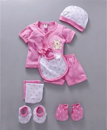 Cucumber Clothing Gift Set of 8 Anchor Print - Pink White
