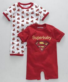 Mom's Love Half Sleeves Romper Superbaby Print Pack of 2 - Red