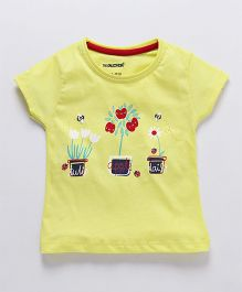 Cucumber Short Sleeves Top Tulip & Daisy Print - Yellow