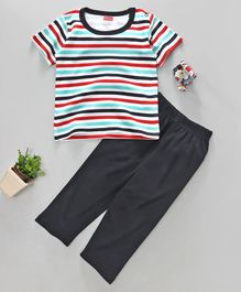 Babyhug Cotton Half Sleeves Striped T-Shirt With Lounge Pant - Navy