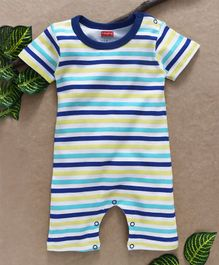 Babyhug Half Sleeves Romper Stripes Print - Royal Blue White