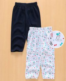 Babyhug Full Length Lounge Pants Puppy Print Pack of 2 - Navy White