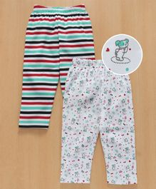 Babyhug Full Length Lounge Pant Stripe & Puppy Print Pack of 2 - Multicolour