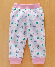 Babyhug Lounge Pants Butterfly & Floral Print - Pink