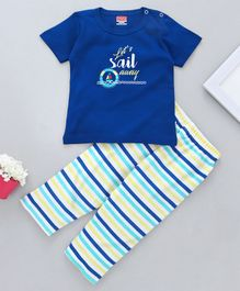 Babyhug Short Sleeves Night Suit Ship & Stripes Print - Royal Blue