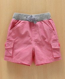 Babyhug Solid Colour Shorts With Contrast Waist Band - Pink