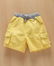 Babyhug Solid Colour Shorts With Contrast Waistband - Yellow