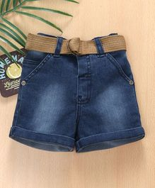 Babyhug Denim Shorts With Grosgrain Belt - Dark Blue