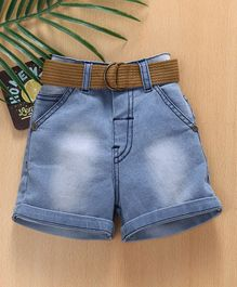 Babyhug Denim Shorts With Grosgrain Belt - Light Blue