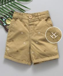 Babyhug Shorts With Elasticated Waist Embroidered - Beige