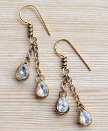 Pretty Ponytails Ethnic Diamond Hanging Earrings - Gold