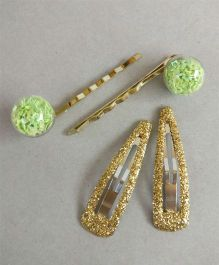 Tiny Closet 2 Pairs Of Glitter Tic Tac Clips & Bobby Pins - Green & Golden