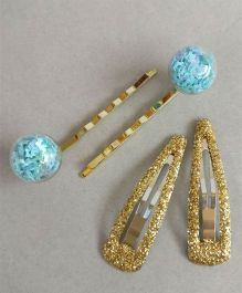 Tiny Closet 2 Pairs Of Glitter Tic Tac Clips & Bobby Pins - Blue & Golden