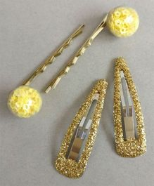 Tiny Closet 2 Pairs Of Glitter Tic Tac Clips & Bobby Pins - Yellow & Golden