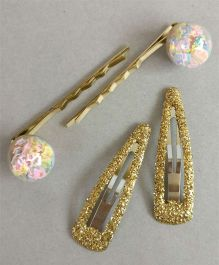 Tiny Closet 2 Pairs Of Glitter Tic Tac Clips & Bobby Pins - Multi & Golden