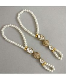 Tiny Closet Pearl & Stone Barefoot Sandals - White