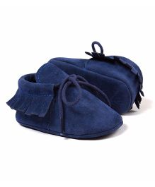Wow Kiddos Soft Soled Frill Design Shoes - Deep Blue