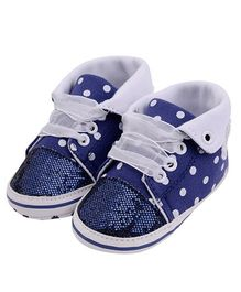 Wow Kiddos Polka Dots Lace Up Sneakers - Blue