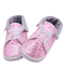 Wow Kiddos Polka Dots Lace Up Sneakers - Pink