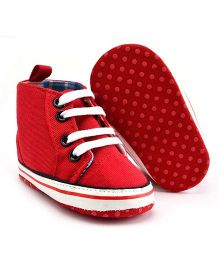 Wow Kiddos High Ankle Canvas Shoes - Red