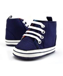 Wow Kiddos High Ankle Canvas Shoes - Dark Blue