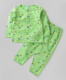 Wonderchild Full Sleeves Printed Night Suit - Green