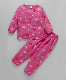 Wonderchild Round Neck Full Sleeves Night Suit - Pink